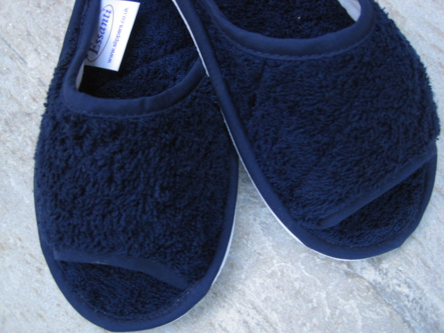 Navy Towelling Peeptoe Slippers
