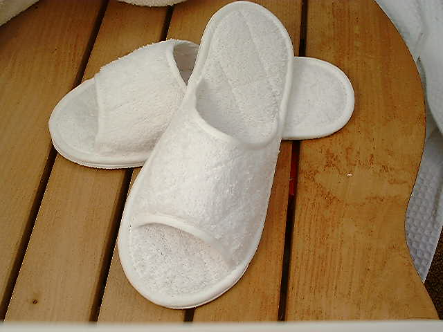 White peeptoe towelling washable slippers