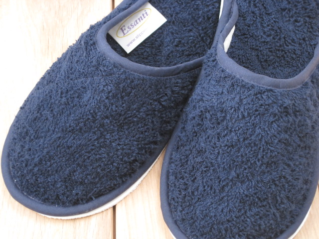 Navy towelling washable slippers
