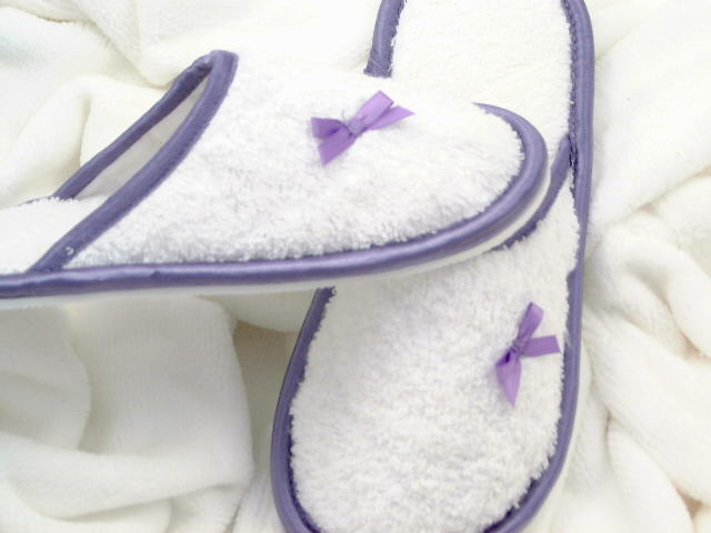 Towelling Washable Slippers with Lilac Trims