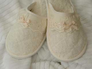 Style 313 Ivory Towelling Slippers with Matching Broidery Trim
