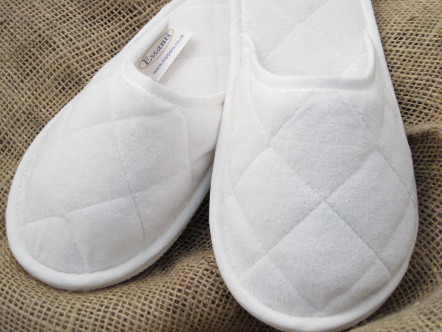 White Velour Washable Slippers